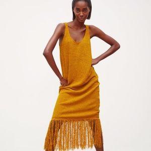 ZARA Mustard Rustic Fringed Dress